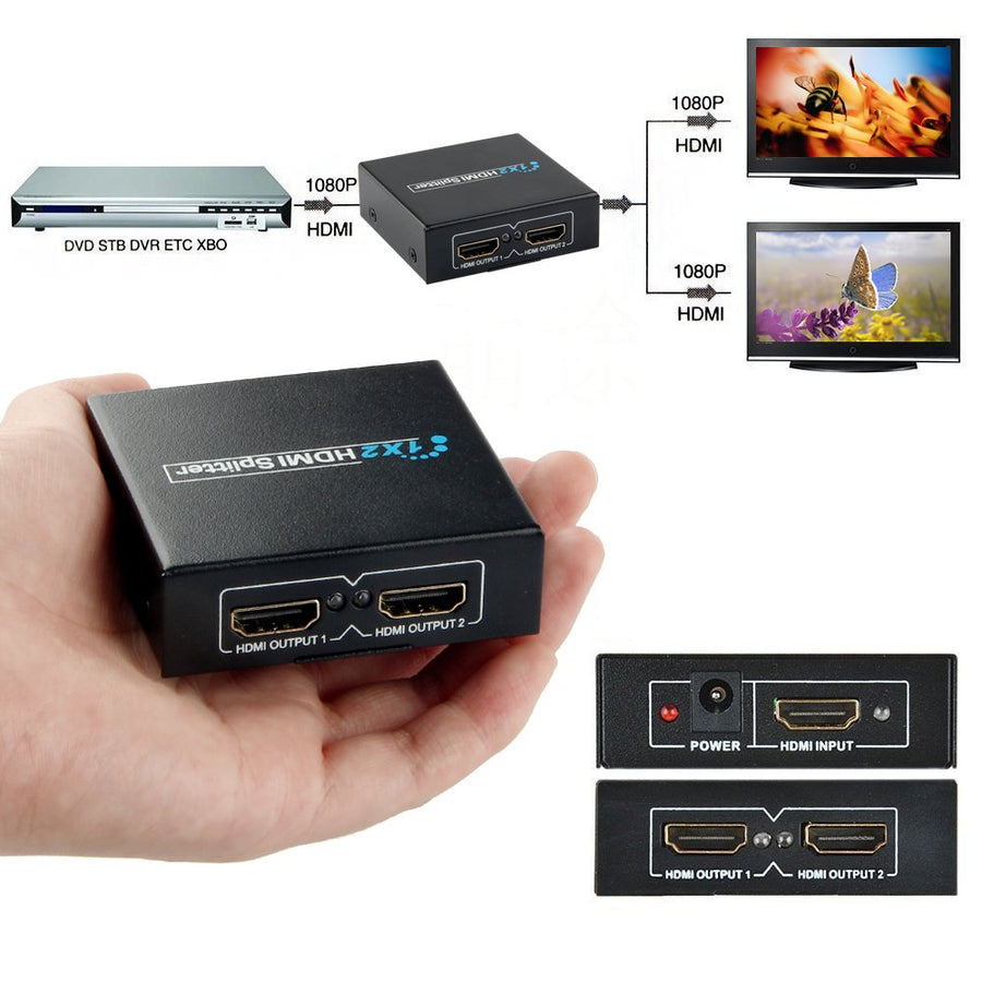 HDMI Splitter 1 in 2 Out Full HD 1080P 1X2 Port Box Hub