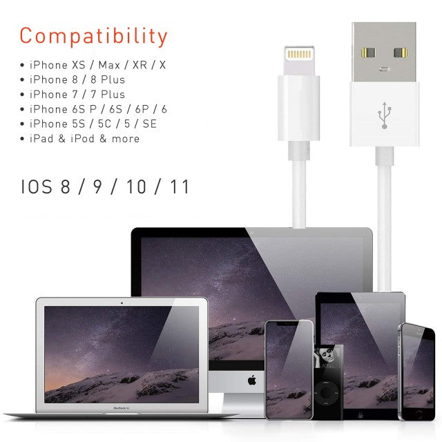 iPhone USB Charging Cable for iPhone 5, 6, 7, 8 and X - White (Pack of 2)