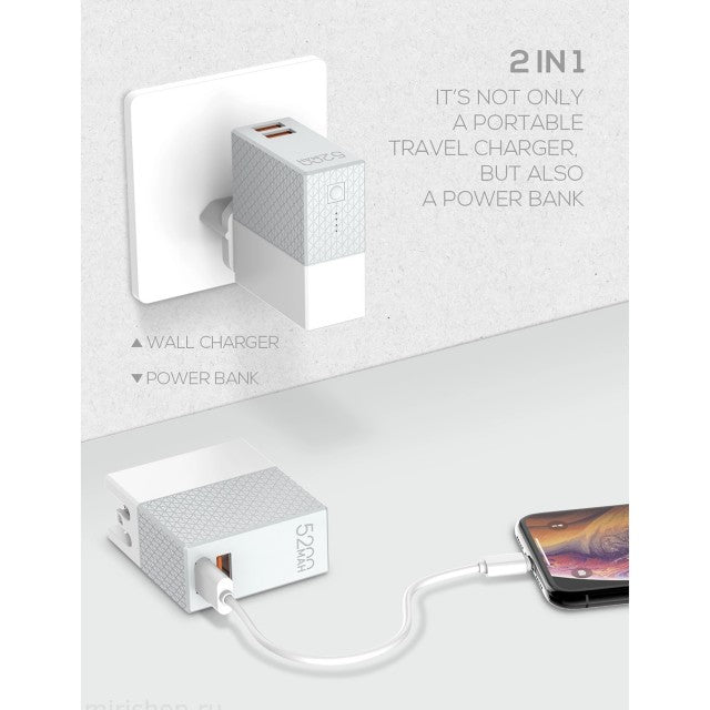 Power Bank 5200mAh & Travel Charger 2 In 1 With UK And US Adapter - by Raz Tech