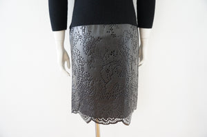 Sacai Faux Leather & Wool Dress