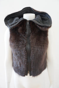 BRANDON SUN HOODED MINK VEST