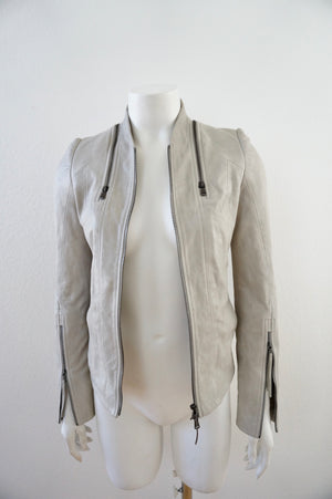 ILARIA NISTRI STONE SOFT LEATHER JACKET