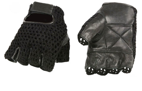 Perforated Weightlifting and CrossFit Fingerless Leather Glove
