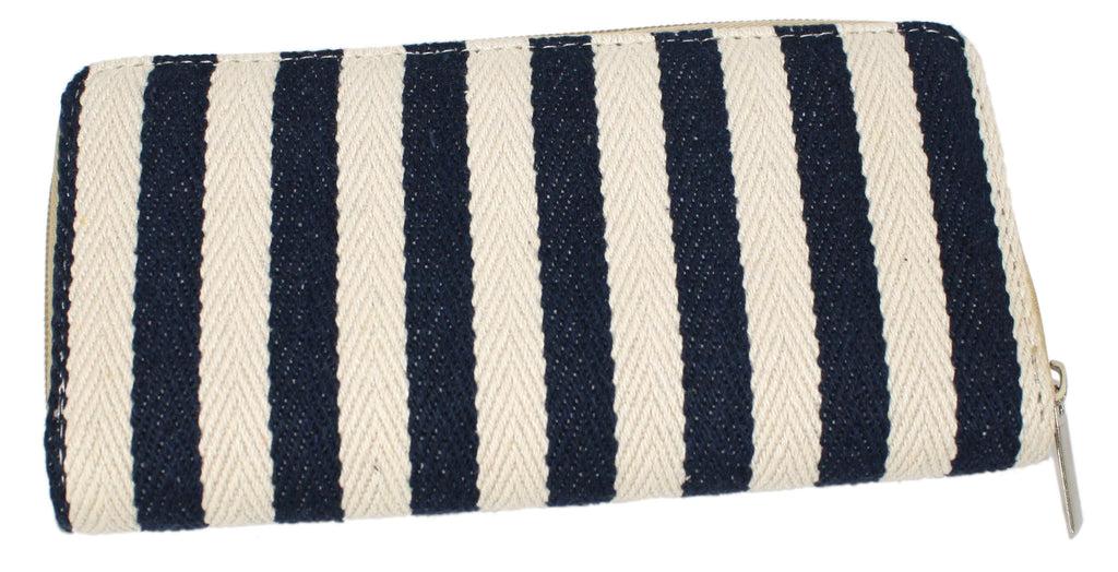 Cotton Textured Stripe Ziparound Cotton Wallet