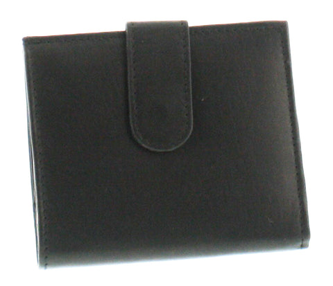 Square Leather Wallet Coin Purse with Snap Feature