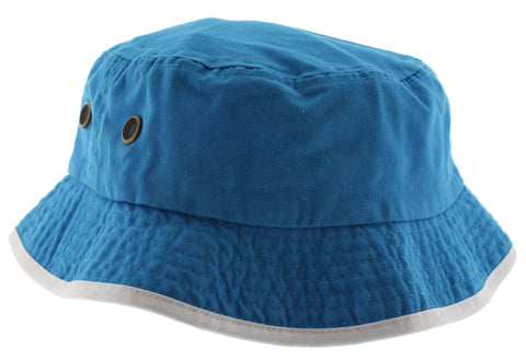 Solid Trim 100% Cotton Bucket Hat with Contrasting Trim