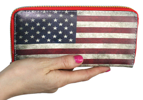 All American Flag Zippered Clutch