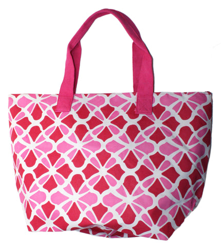 Bright Oversized Beach Tote Bag with Zippered Pocket