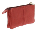 Soft Leather Zippered Coin Purse with Key Rings
