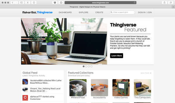 We've been featured on Thingiverse!