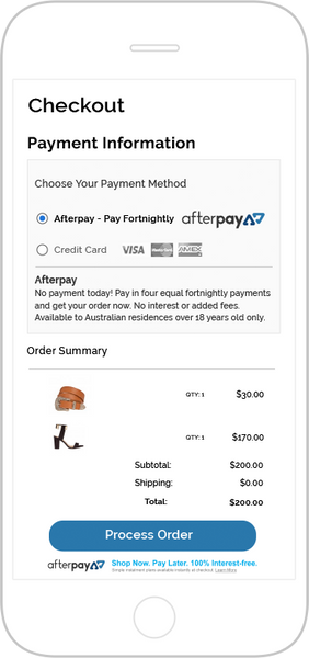 Afterpay pay for your purchases in 4 fortnightly instalments