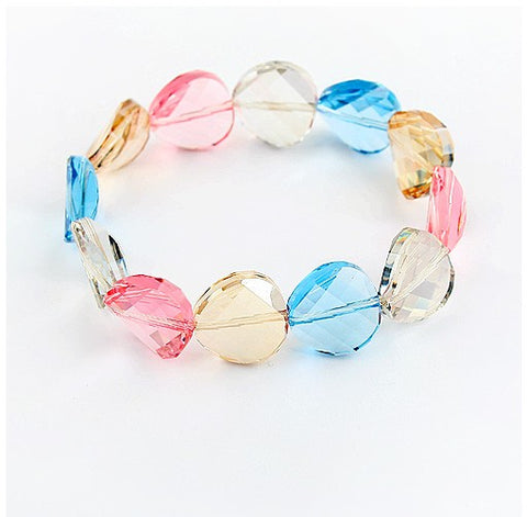 Multi Coloured Crystal Bangle Bracelet  - Large Crystals- made with Swarovski Crystal Elements