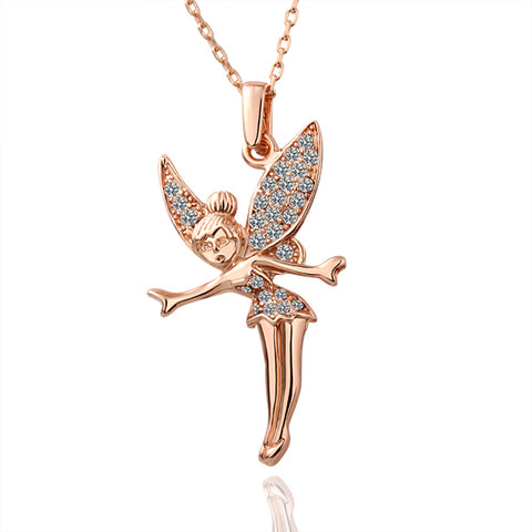 Swarovski Crystal Elements - Little Fairy Girls Necklace - Rose Gold Plate - Gift Idea
