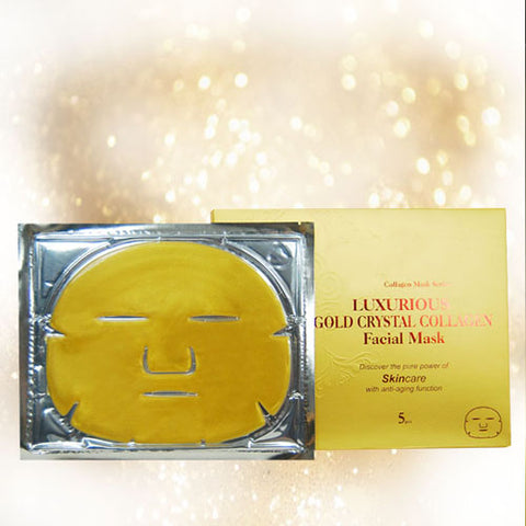 24k Gold Collagen Facial Mask with Crystal Collagen - 99.99% Nano Gold - Gift Pack 5 Masks - JUNE Special Offer