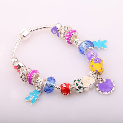 European Style Charm Bracelet - Multi Coloured Violet Heart - Pandora Inspired Charms