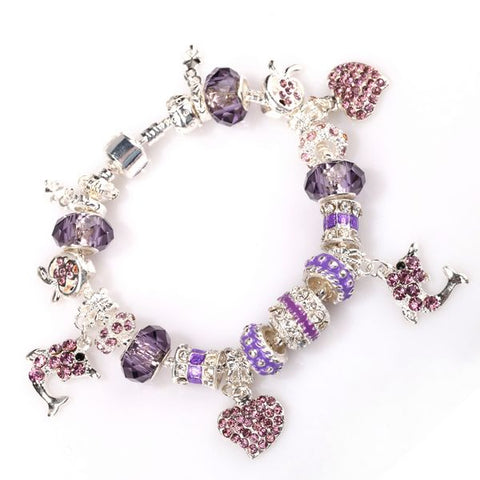 European Style Charm Bracelet - Dolphin and Hearts - Pandora Inspired Charms