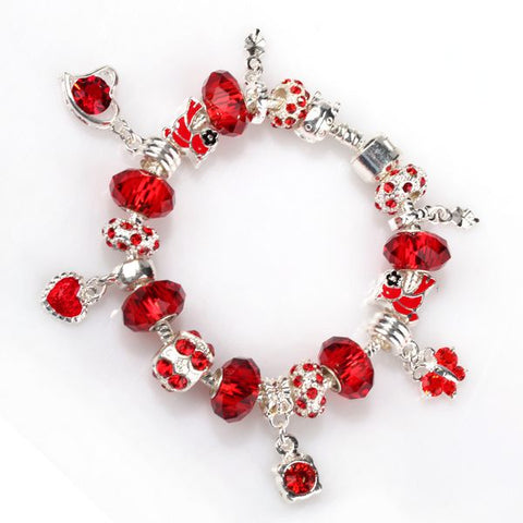 European Style Charm Bracelet - Red Butterflies and Hearts - Pandora Inspired Charms