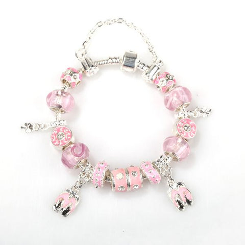 Pandora Inspired European Charm Bracelets - PINK Thongs and PINK Crystals - The Holistic Shop