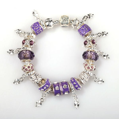 Pandora Inspired European Charm Bracelets - Purple and Silver Charms - The Holistic Shop