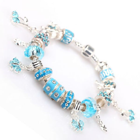 Pandora Inspired European Charm Bracelets - Blue Butterfly - The Holistic Shop
