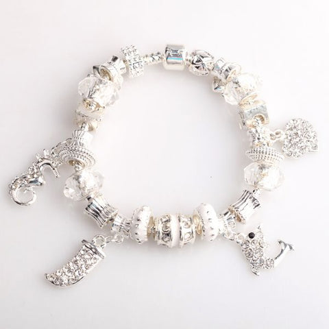 Pandora Inspired European Charm Bracelets - White and Clear Charms - The Holistic Shop