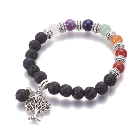 7 Chakra Crystal and Lava Stone Diffuser Aromatherapy Bracelet with Tree of Life Charm - Tibetan Antique Silver Plate - Gift idea