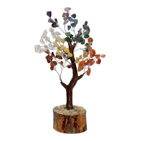 7 Chakra Mixed Crystal Gemstone Tree - Small - Brown Base - Crystal Healing