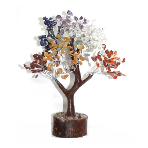 7 Chakra Mixed Crystal Gemstone Tree - Large - Brown Base - Crystal Healing
