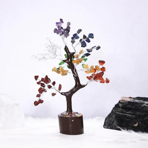 7 Chakra Mixed Crystal Gemstone Tree - Medium - Brown Base - Crystal Healing