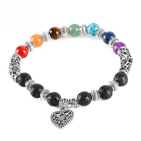 7 Chakra Crystal and Lava Stone Diffuser Aromatherapy Bracelet with Heart Charm - Tibetan Antique Silver Plate - Gift idea
