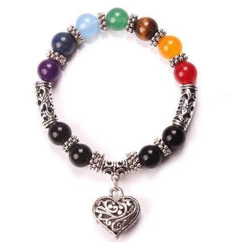 7 Chakra Natural Crystal Gemstone Bracelet with Tibetan Silver Heart Dangle - Gift idea