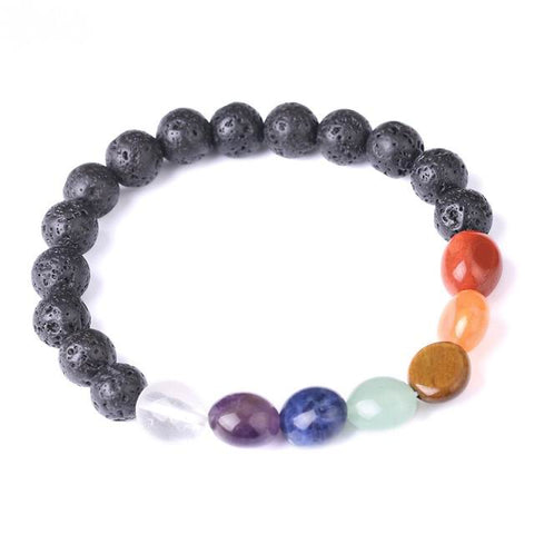 7 Chakra Tumbled Stone (8 mm) and Lava Stone Diffuser Bracelet - Limited Edition