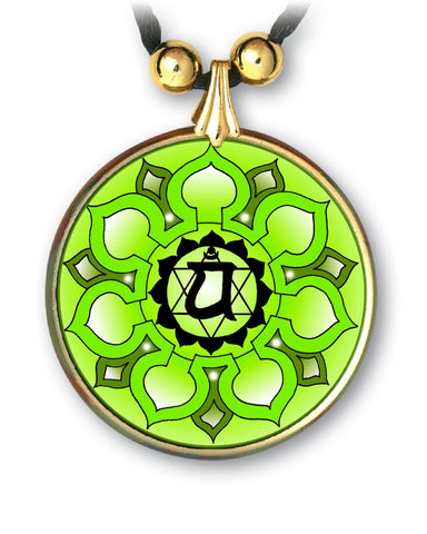 Heart Chakra Sanskrit Mandala Pendant - Handcrafted - each piece unique