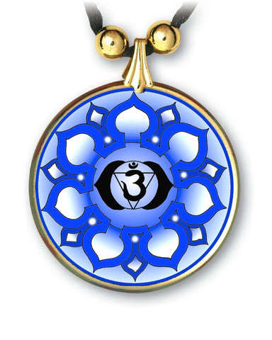 Brow Third Eye Chakra Sanskrit Mandala Pendant - handcrafted - each piece unique