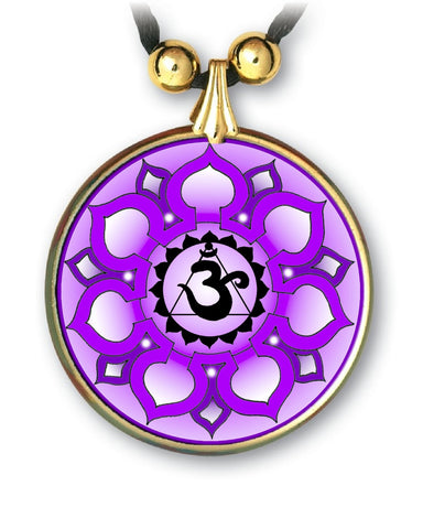 Crown Chakra Sanskrit Mandala Pendant - Handcrafted - each piece unique