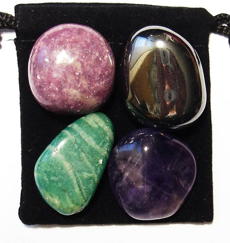 ADD and ADHD Relief Tumbled Stone Crystal Healing Set with Velvet Pouch - Amazonite, Amethyst, Hematite and Lepidolite