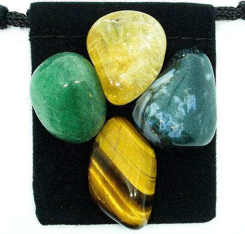 Abundance and Prosperity Tumbled Stone Crystal Healing Set with Velvet Pouch - Green Aventurine, Citrine, Moss Agate,and Tiger Eye