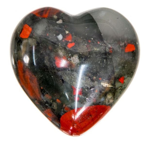 African Bloodstone Crystal Heart 30mm - Cleansing, Colds, Detoxifying, Flu and Healing - Crystal Healing - Gift Idea