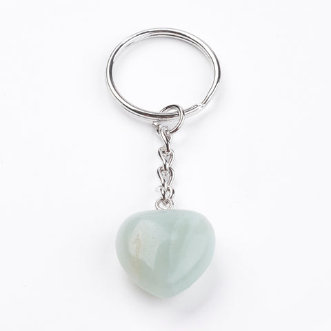 Amazonite Crystal Gemstone Puff Heart Key Chain - Finance, Expression, Balance and Inspiration