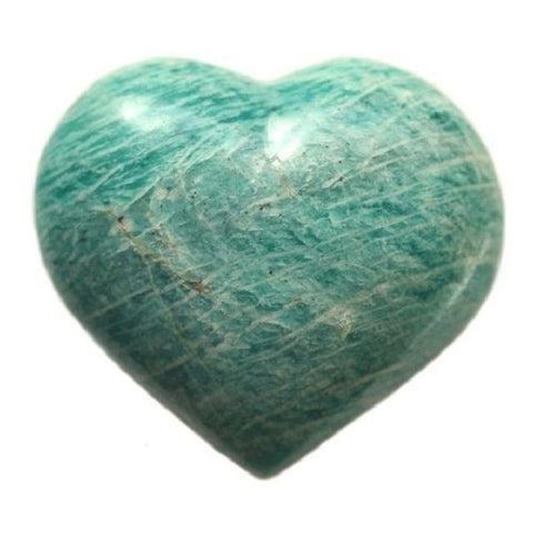Amazonite Crystal Heart 30mm - Finance, Expression, Balance and Inspiration - Crystal Healing