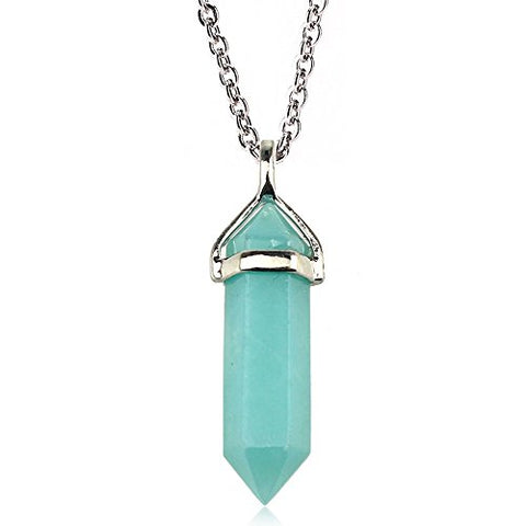 Amazonite-Double-Point-Necklace-FREE-Stainless Steel Chain