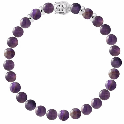 Crystal Gemstone Bracelet 8 mm with Silver Buddha Head - Handcrafted