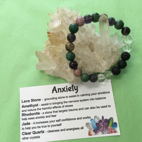 Anxiety Relief Healing Crystal Gemstone and Lava Beads Bracelet - Aromatherapy Diffuser - Handcrafted