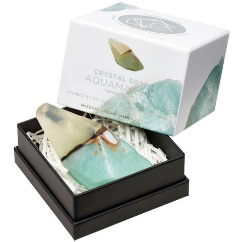 AQUAMARINE Crystal Inspired Soap - Gift Boxed - Lemongrass