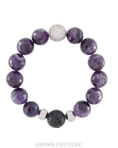 Amethyst and Lava Gemstone Aromatherapy Essential Oil Diffuser Bracelet - Gift idea