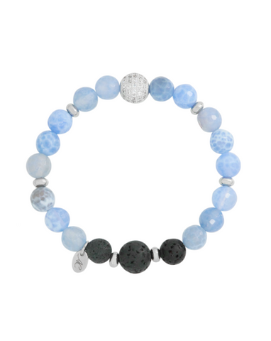 Blue Lace Agate Gemstone and Lava Aroma Essential Oil Diffuser Bracelet - Hope, Strength and Balance