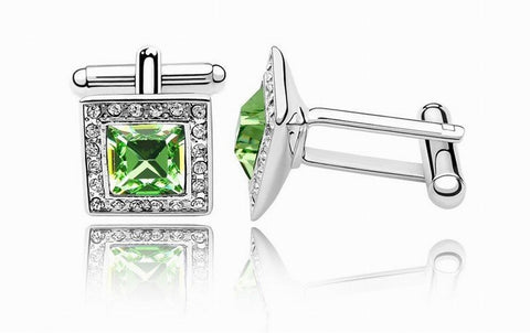 Swarovski Austrian Crystal Elements Cuff Links - Not to be Square - Cruise Wear - Business Wear - Formal Wear - School Formals