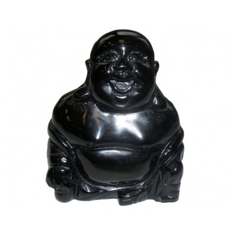 Black Obsidian Buddha 75mm - Protection, Grounding and Healing