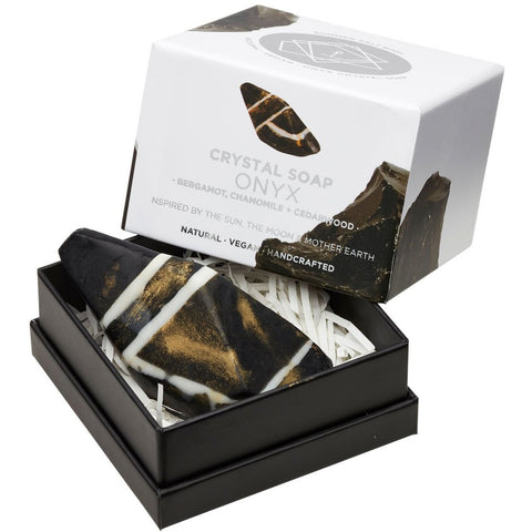 BLACK ONYX Crystal Inspired Soap - Gift Boxed - Bergamot, Chamomile and Cedarwood