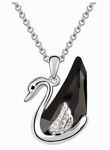Swarovski Crystal Elements - BLACK Swan Design Necklace - Platinum Plate - Valentine's Day Gift Idea
